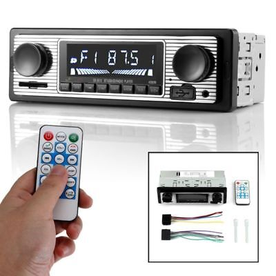 12V Bluetooth Retro Car Vehicle Radio MP3 Player Stereo USB AUX Stereo Audio