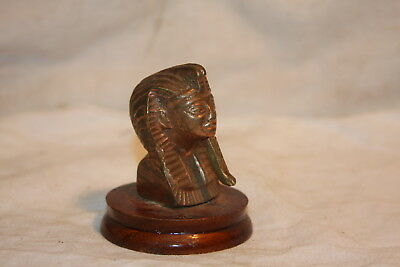 Vintage Brass Bronze Egyptian Revival Pharaoh Head Wood Bade Paper Weight