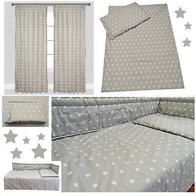 Grey Stars Nursery Baby Boy Girl Cot/ Cot bed/ Toddler Bed Bedding Set Curtains