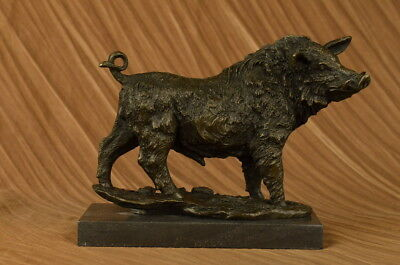 Bronze Statue Wild pig on a Solid Marble Base Signed BARYE Stunning Animal Art