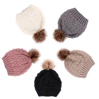 2Pcs Women Mother Baby Child Warm Winter Knit Beanie Cap Crochet Ski Cap Pom Hat