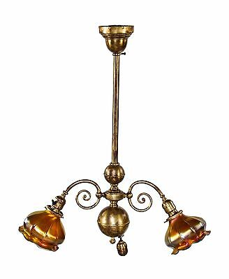 Early 20Th Cent Brass 2-Arm Chicago Athletic Club Billiard Room Ceiling Fixture