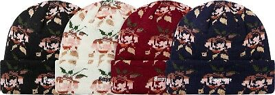 8a39cd340bc4f SUPREME ROSE JACQUARD Beanie Black Burgundy box logo camp cap F W 18 ...