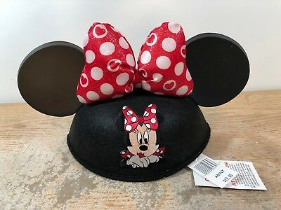 Disney Parks Minnie Mouse Glitter Red Dot Bow Hat Ears NEW With Tags