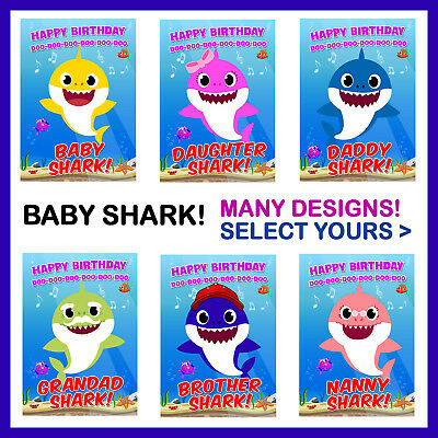 Baby Shark Doo Doo Doo Birthday Card Mummy Daddy Grandpa Grandma Brother Sister