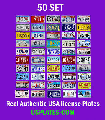 50 Usa License Plates Set American Number Tag Lot Best Value Art Decor Color Mix
