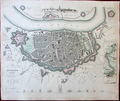Antwerp city plan Belgium Antwerpen Anvers c.1832 SDUK Europe City Plan