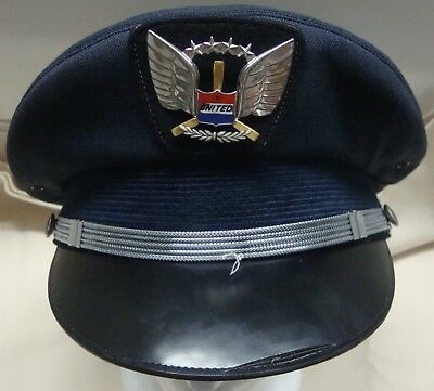 United Airlines Pilot's Cap - First Officer - 1970's - Attributed - V.good Cond.