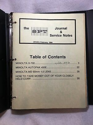 SPT Society of Photo Technologists Journal & Service Notes Guide Full 1984 Year