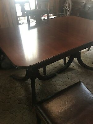 Duncan Phyfe Antique Dining room Table And Six Chairs Mahogany Spanish Leather