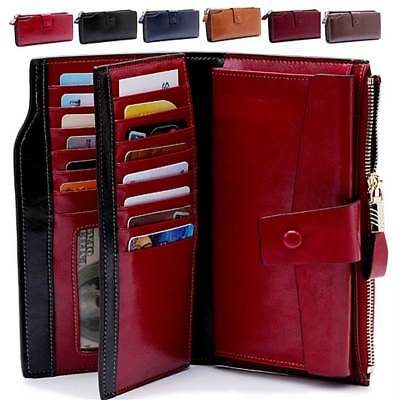 Women Genuine Leather Long Wallet Money Card Holder Clutch Hi-Q RFID Blocking