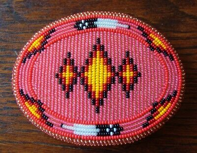 Shoshone Native American Beaded Belt Buckle Salmon Or Pink Beautiful !!