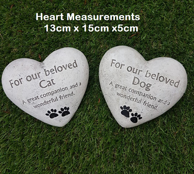Pet Memorial Stone Heart In 2 Designs For Cats & Dogs With Text & Paw Prints