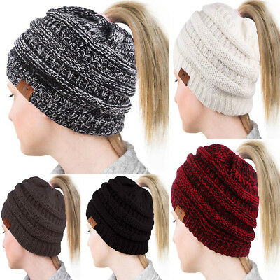 Ladies Soft Warm Stretch Knit High Bun Ponytail Beanie Hat Ribbed Skull Cap