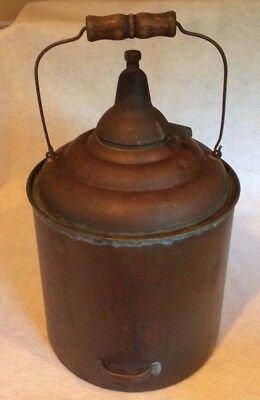 Antique copper/brass Oil Kerosene or Water Container w/wire & wood handle empty