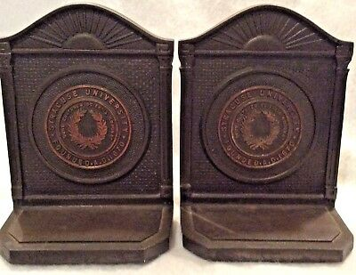 Vintage pair Syracuse University Cast Iron Bookends founded 1870 marked CS & CC