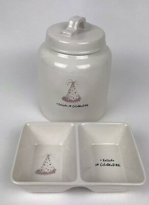 NEW Rae Dunn I Believe In Celebrating Double Candy Dish Birthday And Canister