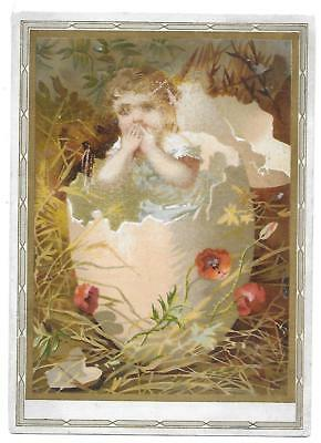 Large Standard Coffee Victorian Trade Card Indianapolis Ind. Girl Easter Egg