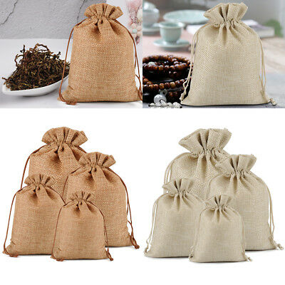Pack of 25 50 100 Wedding Hessian Bags Natural Burlap Jute Gift Drawstring Pouch