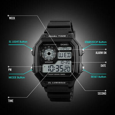 SKMEI Fashion Mens Smart Luminous Watch Digital Sports Wrist Watch Waterproof WB