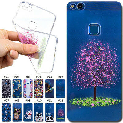 For Huawei P10 Lite TPU Pattern Case Cover Clear Soft Protective Silicone Skin