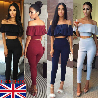 78f67bf79db UK Womens 2 Piece Crop Top Jumpsuit Ladies Sleeveless Cut Out Playsuit Size  6-14