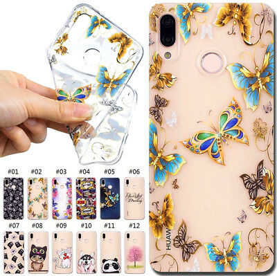 For Huawei P20 Lite/Nova 3E Clear Soft Back Rubber TPU Case Cover Pattern Skin
