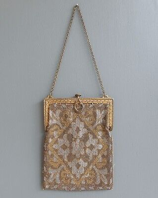 Antique Edwardian Art Deco French Style Cut Steel Micro Bead Purse Silver Gold