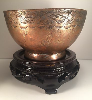 Vintage Tinned Copper Engraved Bowl Middle Eastern Egyptian Turkish?