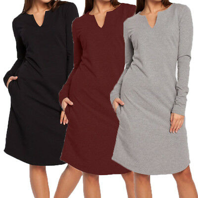 UK 8-26 Womens V-neck Long Sleeve Sweatshirt Casual Sweater Jumper Autumn Dress