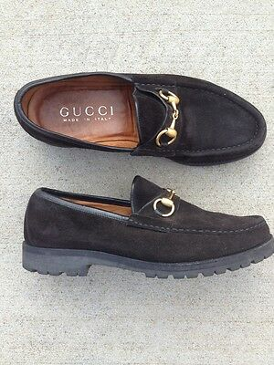696217e9286 GUCCI Men s Horsebit Black Suede Leather Loafers Size  7.5M Made in Italy