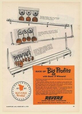 1950 Revere Ware Copper Clad Cookware Retail Racks Trade Print Ad