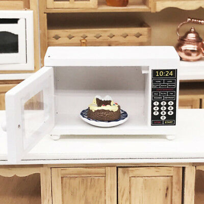 1/12 Dolls House Miniature Kitchen Accs White Wooden Microwave Oven