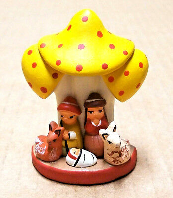 Andean Nativity On a Yellow Mushroom Small Ceramic Handmade in Peru