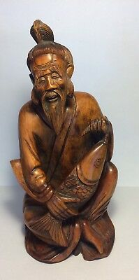 """Vintage Old Chinese Fisherman Carved Wooden Statue Figure 10"""" Asian"""