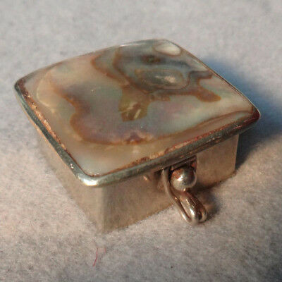 Vintage SS Abalone Trinket,Pill Box