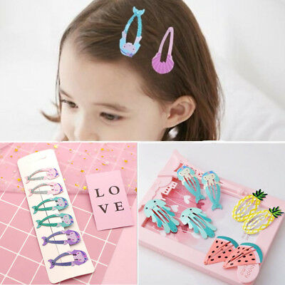 6pcs Colorful Kids Girl Baby Hairpin Hair Clips Cartoon Metal Snap Barrettes New