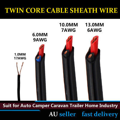 1mm,6mm,10mm,13mm Copper Twin Core Cable 2 Sheath Electrical Wire Battery 12-24V