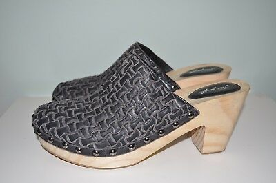 New Free People Adelaide Leather Classic Wooden Clog Woven Hasbeens Size 40
