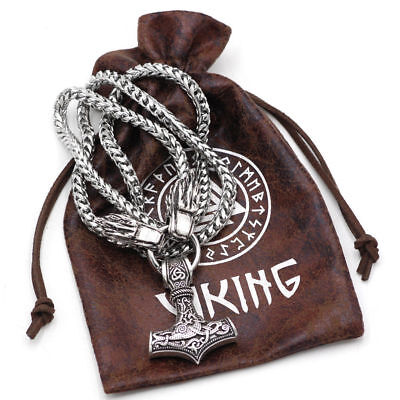stainless Steel Viking Wolf Head W Thor's Hammer Bear Wolf Pendant NECKLACE new