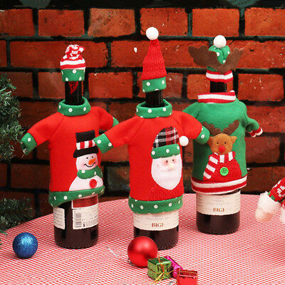 Hot!Christmas Red Wine Bottle Cover Bags Dinner Table Home Party Decor Snowman