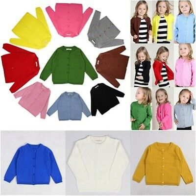 UK Baby Girls Knitted Cardigan 15 Colours Long Sleeves Sweater 12 Month - 6Years