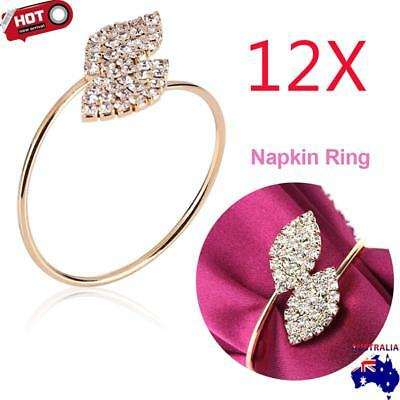 12xRhinestone Handmade Napkin Ring Tissue Holder Party Dinner Wedding Xmas Decor