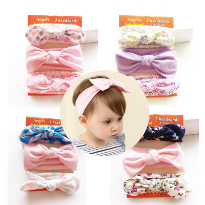 3PCS/Set Flower Newborn Baby Kid Toddler Soft Elastic Bow Knot Headband Hairband