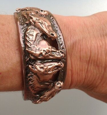 Horses cuff bracelet Copper plated  Pewter AUTHENTIC FROM ARTIST Zimmer design
