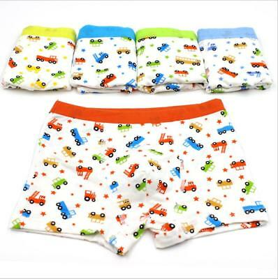 Kids Boys Girls Underwear Breathable Cartoon Car Printing Boxer Brief Pantie Set