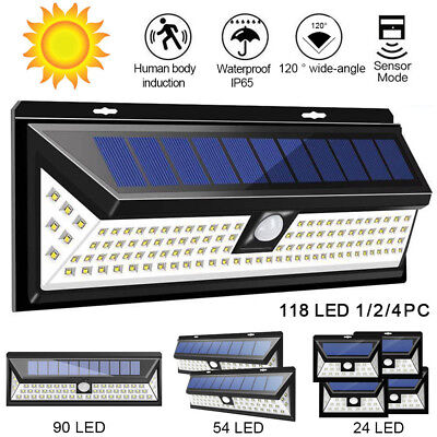 120/118 LED Solar Powered Motion Sensor Wall Security Light Lamp Garden Outdoor
