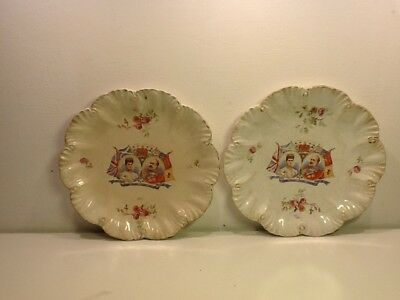 Antique pair of King Edward VII & Queen Alexandra Coronation Souvenir plates