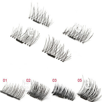 Magnetic 4pcs/1 Pair Eyelashes 3D Handmade Mink Reusable False Magnet Eye Lashes
