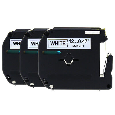 MK231 White Compatible Brother P-touch Label Tape Laminated 12mm 3PK Label Maker